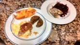 Day 36: Eggs, natural bacon, and pumpkin muffin with a side of Applegate farms chicken sausage and red cabbage. Cabbage, yum!